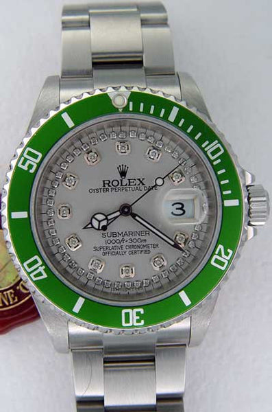 Rolex Submariner Steel Silver String Diamond Dial / Green Insert