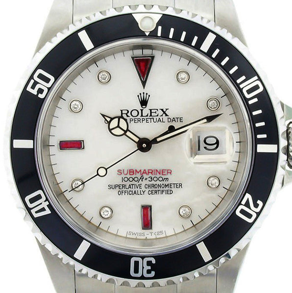 Rolex Submariner Steel Red Rubies / White MOP Face
