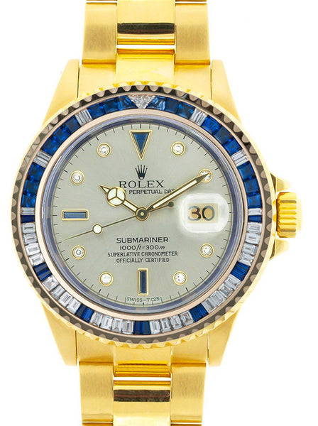 Rolex Submariner Yellow Gold Slate Diamond Dial / Blue Stones Bezel