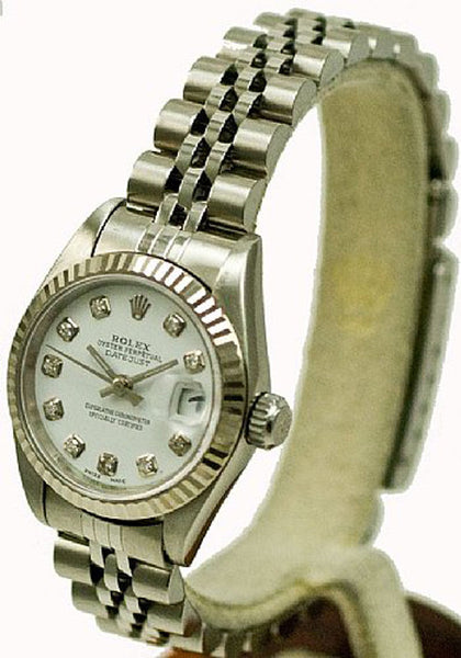 Rolex Ladies Datejust Steel White Diamond Dial & Jubilee Band