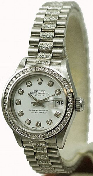 Rolex Ladies Datejust Steel White Diamond Dial/Bezel/Band
