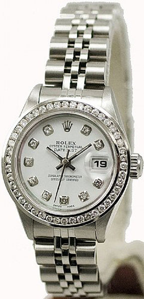 Rolex Ladies Datejust Steel White Diamond Dial & Channel Diamond Bezel