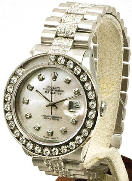 Rolex Mens Datejust Steel White MOP Diamond Dial/Happy Set Bezel/Diamond Band