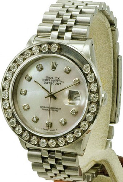 Rolex Mens Datejust Steel White MOP Diamond Dial & Happy Set Bezel
