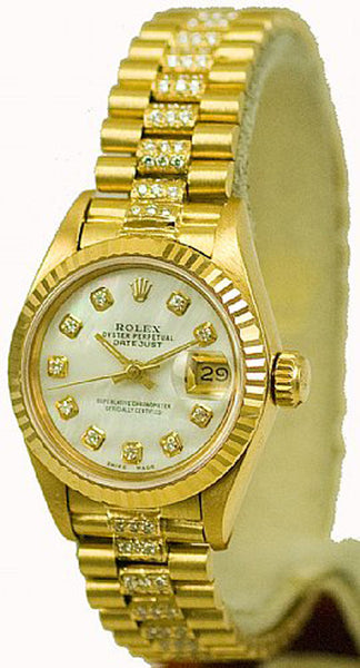 Rolex Ladies President Yellow Gold White MOP Diamond Dial & Diamond Bracelet