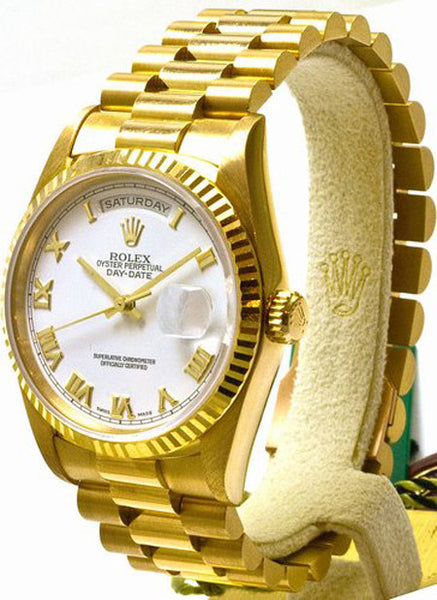 Rolex President 18kt Yellow Gold White Roman Face / Model 18238
