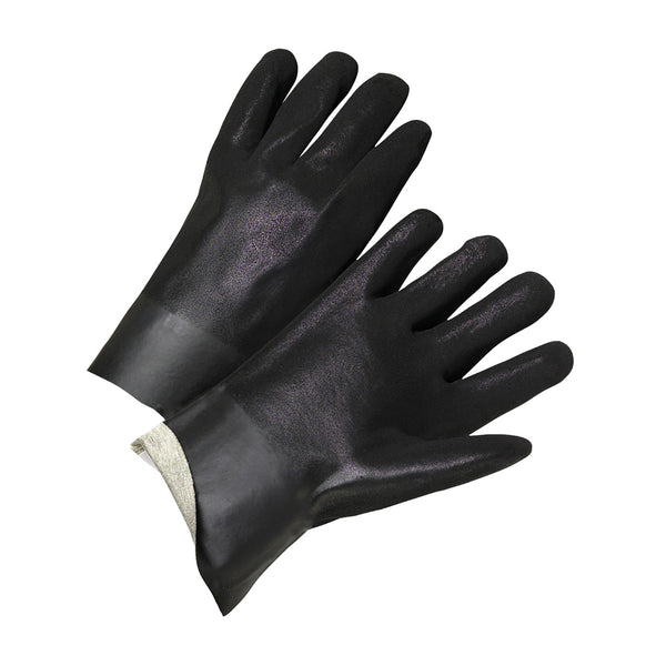 12 in Rough Finish Black PVC Dipped Chemical Glove, Jersey Lined