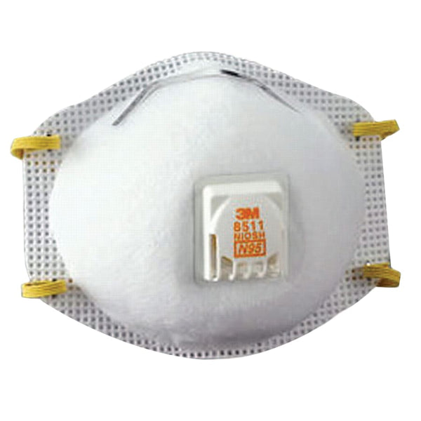 3M Model 8511 N95 Rated Disposable Particulate Respirator with Valve, 10 per box (Dust Mask)
