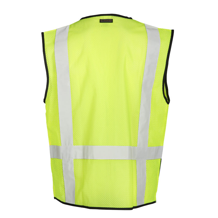 Black Bottom Class 2 Silver Stripe Mesh Safety Vest with Zipper