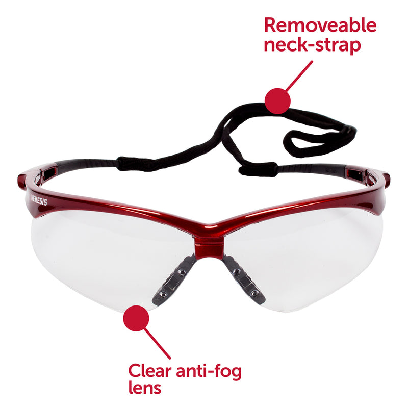 Nemesis Inferno Red Frame Clear Lens Safety Glass