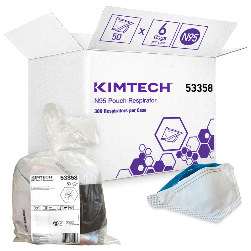 Kimtech™ N95 Pouch Respirator, NIOSH approved for non-medical use, bag of 50