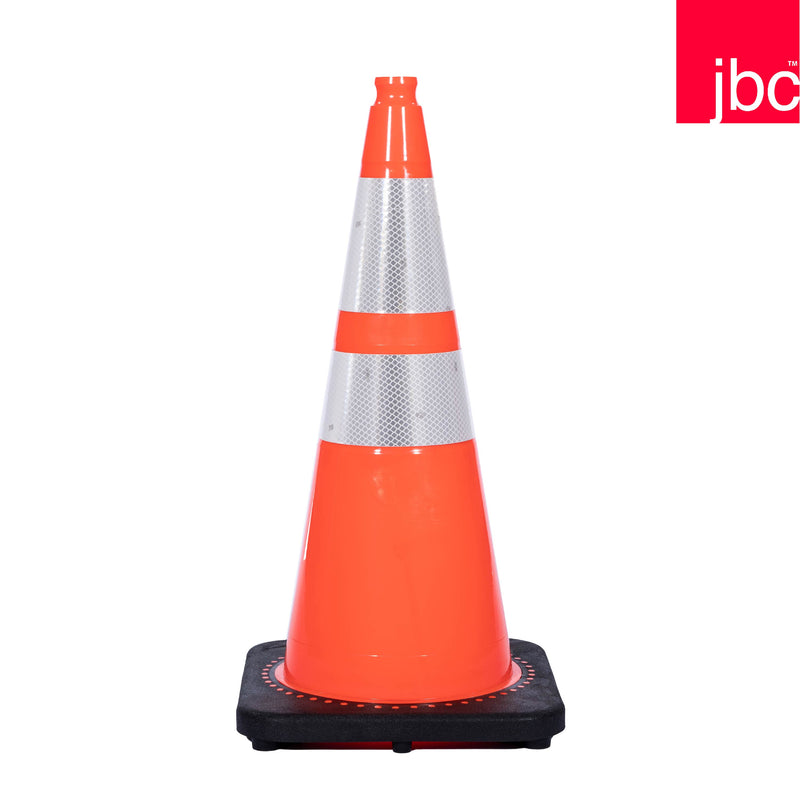 Reflective Wide Base Orange Traffic Cone with Black Base