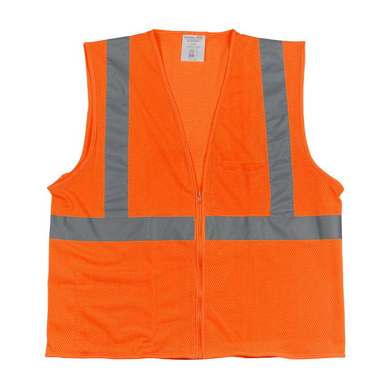 Orange Class 2 Two Pocket Zipper Mesh Vest