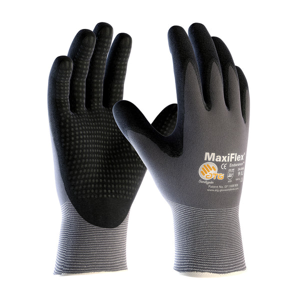 MaxiFlex ENDURANCE, Nitrile Dotted Palm, Black Micro-Foam Nitrile Coated Palm & Fingertips, Gray Seamless Knit Nylon Glove