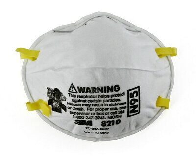 3M Model 8210 N95 Rated Disposable Particulate Respirator (Dust Mask), 20 per box