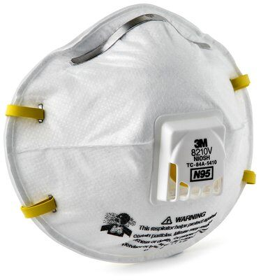 3M Model 8210V N95 Rated Disposable Particulate Respirator with Valve (Dust Mask), 10 per box