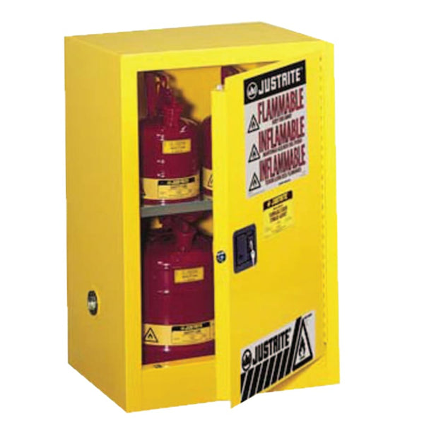 "12 Gal Yellow Flammable Storage Safety Cabinet with Manual Closing Door (35"" x 23-1/4"" x18"")"