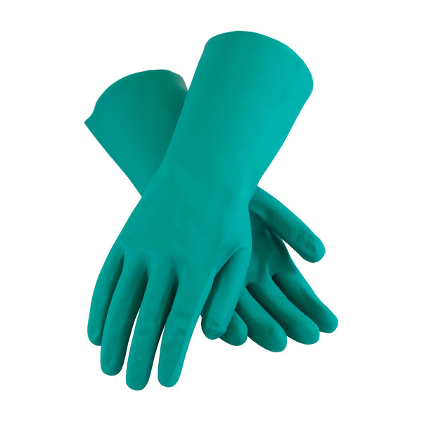 "Green Nitrile 15 mil Chemical Resistant Unsupported Glove, 13"" Long"