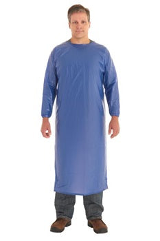 AlphaTec 8 mil Blue Vinyl Open Back Coat Apron with Sleeves, case of 12
