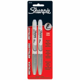 Sharpie Fine Point Metallic Silver Permanent Marker Black, 2 pack