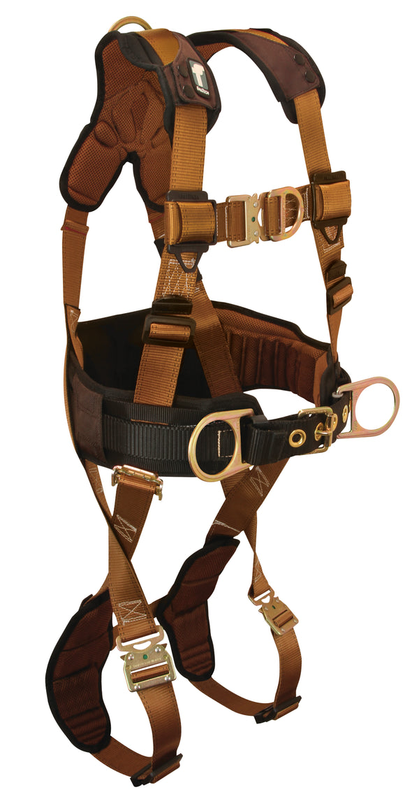 Comfortech Harness with 4 D-rings, Back, Side and Front; Quick Connect Legs and Chest; Lumbar-supporting Waist Pad.
