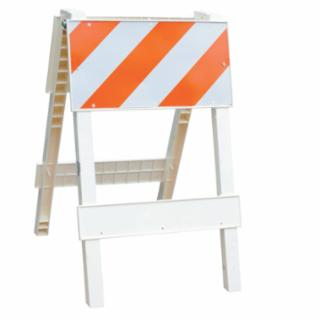 "24"" Wide x 36"" High Type 1 Plastic Folding Barricade, Engineer Grade Reflective Orange Stripes"