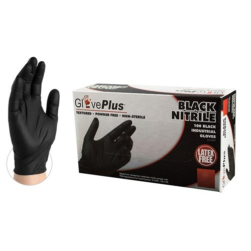6 mil Black Nitrile Powder-Free Industrial Grade Exam Gloves, box of 100