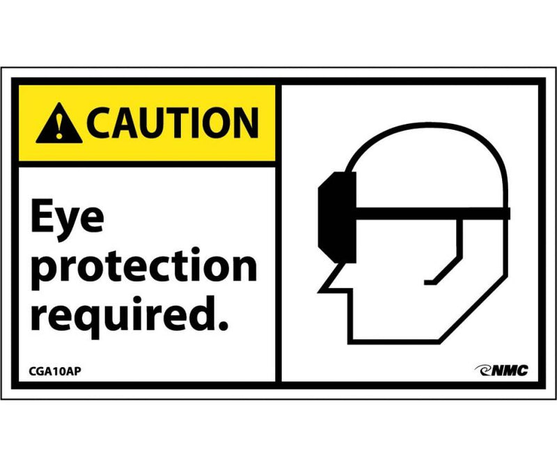 3 x 5 Stick On Label w/Graphic RE: Caution Eye Protection Required, pack of 5