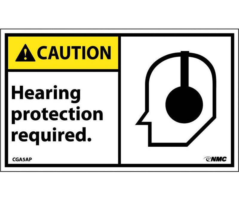 3 x 5 Stick On Label w/Graphic RE: Caution Hearing Protection Required, pack of 5