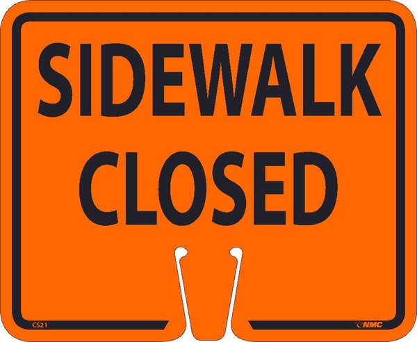 "10.5"" x 12.5"" Orange Plastic Cone Sign:  Sidewalk Closed"