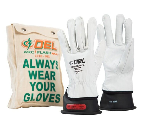 Class 0 Black Natural Rubber Linesman's Glove, Leather Protector and Bag