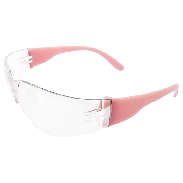 Lucy Pink Frame Clear Lens Safety Glasses, 12 per box