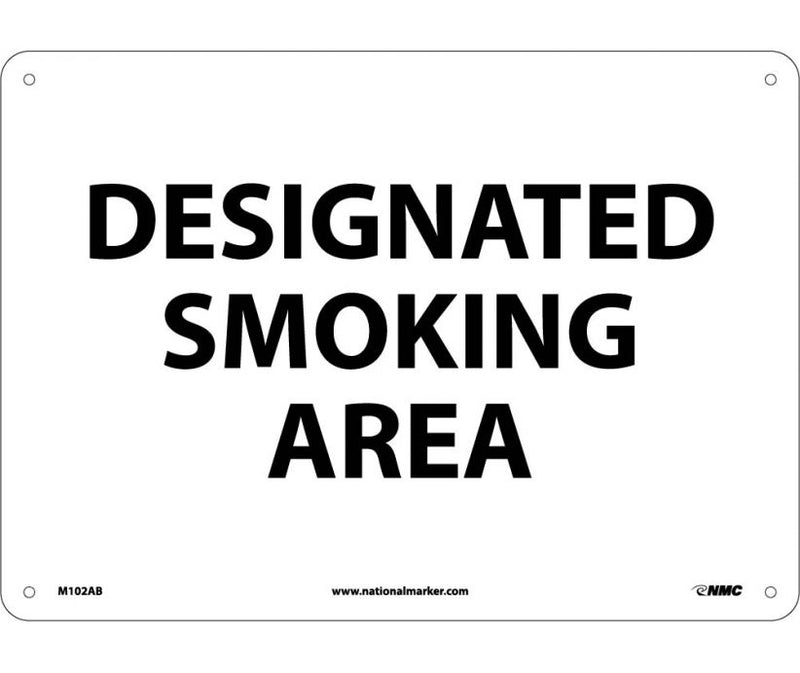 "10 x 14 Ridgid Plastic Safety Sign, RE: ""DESIGNATED SMOKING AREA"", Red letters on White Background"