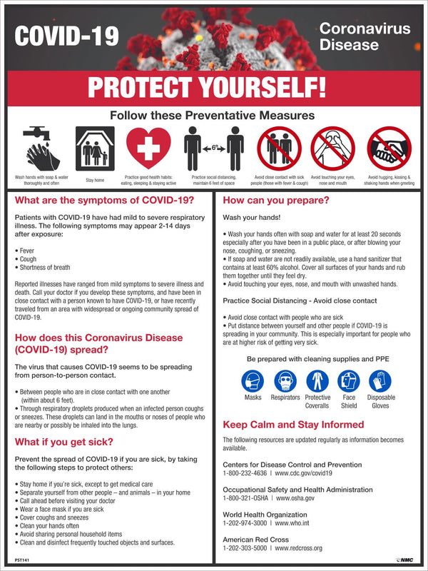 "POSTER - COVID-19 PROTECT YOURSELF!, 24"" high x 18"" wide"