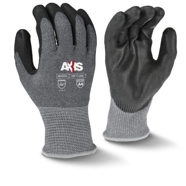 Axis Brand HPPE, 13 gauge gray nylon shell, Black Polyurethane Palm, ANSI 4 Cut Resistant Glove