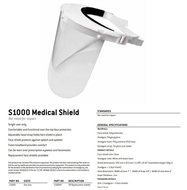 Lightweight Polycarbonate Medical Faceshield with Headgear and (5) Shields