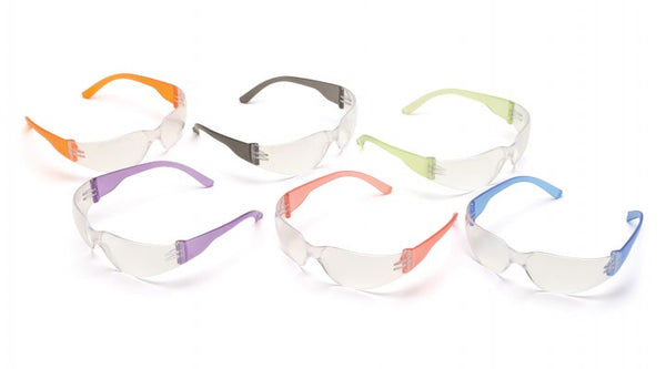 Intruder Clear Lens Safety Glasses with Assorted Temple Colors, box of 12