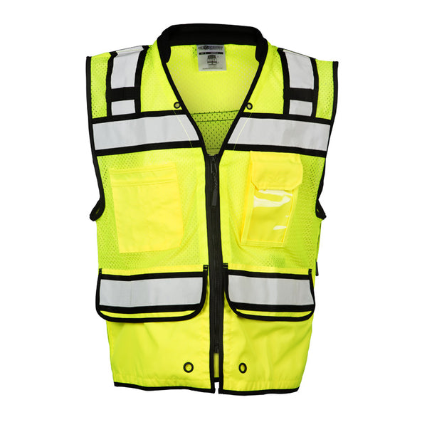 High Performance Lime Green Surveyors Vest with many pockets