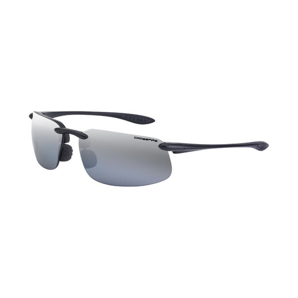 Crossfire ES4 Polarized Silver Mirror Lens, Crystal Black Frameless Safety Glasses