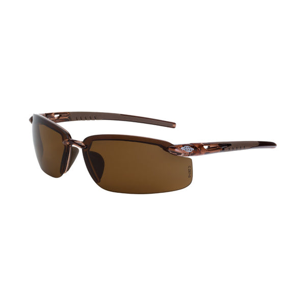 Crossfire ES5 Brown Polarized Lens, Crystal Brown Frameless Safety Glasses