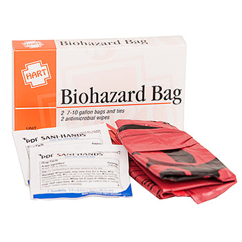 Red Biohazard Waste Bags 2 Each, with wipe