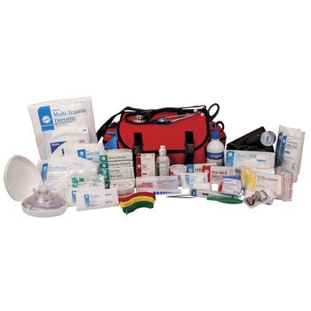 First Responder Deluxe Trauma Kit in Red Cordura Bag, stocked fully