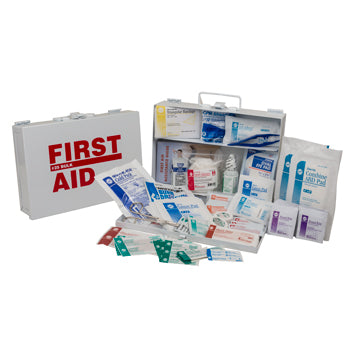 ANSI 2015 Class A Portable First Aid Kit in Weatherproof Steel Case (25 person Medium Truck Kit)