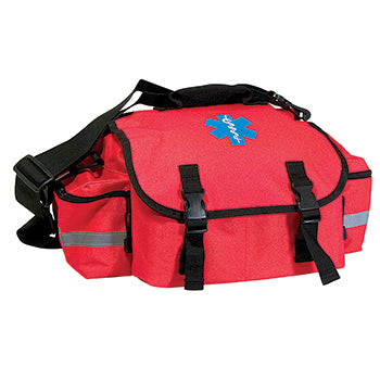 "EMT First Responder Bag, Red Cordura nylon with ""Star of Life"" logo , 17"" x 10"" x 9"", bag only"