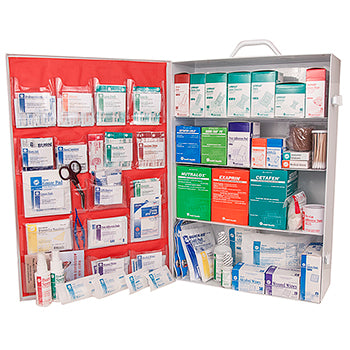 Deluxe 4 Shelf First Aid Cabinet Fully Stocked, ANSI 2015 Class A Fill