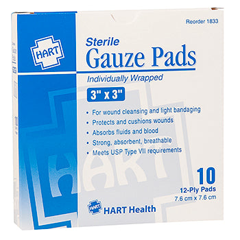 "3"" x 3"" Sterile Gauze Pads Individually Wrapped, Box Qty: 10"