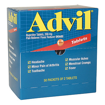 Advil Industrial Pack Tablets 200mg, 50 packs of 2