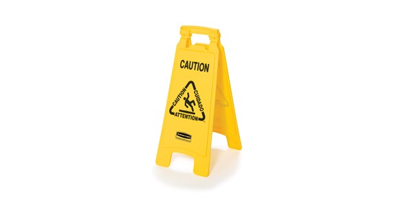 "2-Sided Yellow ""Caution Wet Floor"" Sign, 26"" high"