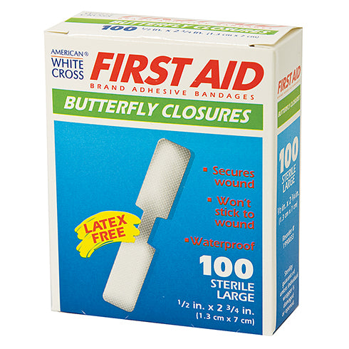 Medium White Cross Butterfly Closures, Pack of 10 bandages