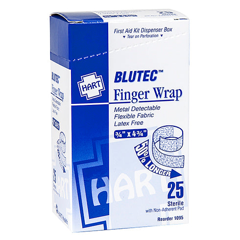 3/4 x 4-3/4 Finger Wrap Bandage, Blue Metal Detectable, 25 per box